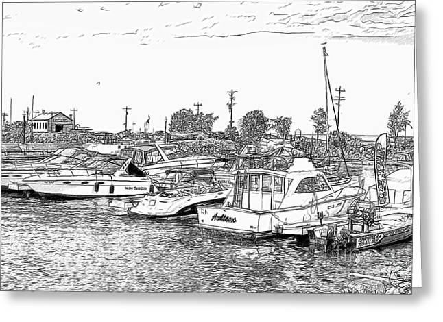 Collingwood Greeting Cards - Boats in Collingwood Harbour Greeting Card by Les Palenik