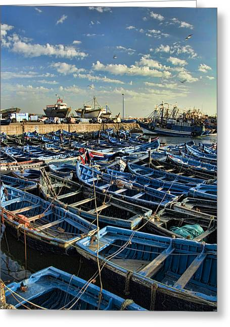 Northern Africa Greeting Cards - Boats in Essaouira Morocco harbor Greeting Card by David Smith