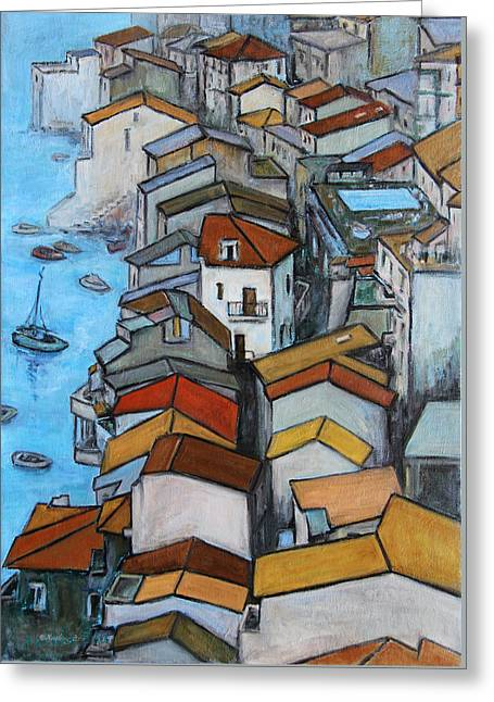 Sailboat Art Greeting Cards - Boats in front of the Buildings IV Greeting Card by Xueling Zou