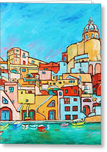 Southern Italy Greeting Cards - Boats In Front of the Buildings VII Greeting Card by Xueling Zou