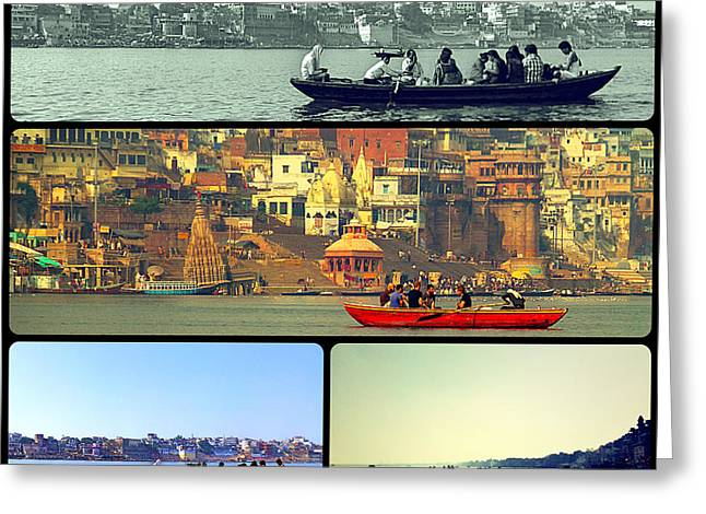 River Photographs Pyrography Greeting Cards - Boats in Ganga River Greeting Card by Girish J