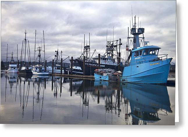 Boats In Harbor Newport Oregon Greeting Card by Carol Leigh