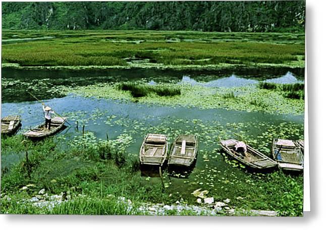 Ga Greeting Cards - Boats In Hoang Long River, Kenh Ga Greeting Card by Panoramic Images