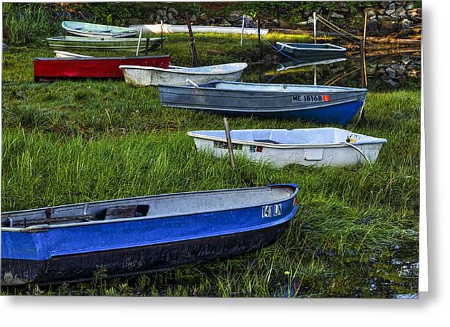 Boats In Marsh - Cape Neddick - Maine Greeting Card by Steven Ralser