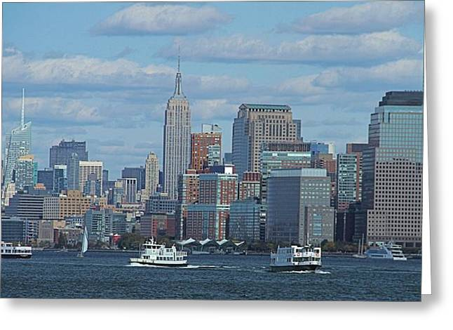 Rip Tide Greeting Cards - Boats In New York City Greeting Card by Dan Sproul