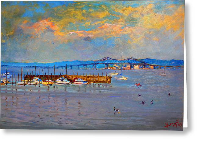 Hudson Paintings Greeting Cards - Boats in Piermont harbor NY Greeting Card by Ylli Haruni