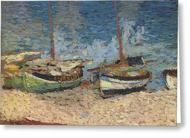 Sailboat Images Mixed Media Greeting Cards - Boats In Port Collioure II Greeting Card by Henri Martin - L Brown