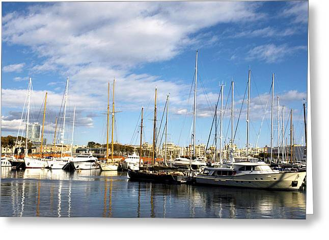Boats in Port Vell Greeting Card by Fabrizio Troiani