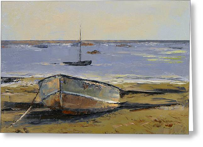 Marino Greeting Cards - Boats in Provincetown Harbor Greeting Card by Michael Creese