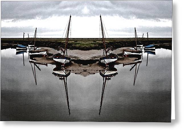 Boats On Water Digital Greeting Cards - Boats in symmetry Greeting Card by Sally Lloyd