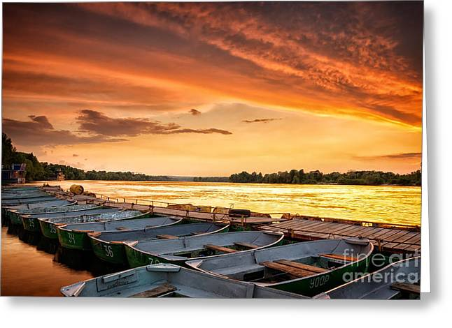 Igor Baranov Greeting Cards - Boats in the fire Greeting Card by Igor Baranov
