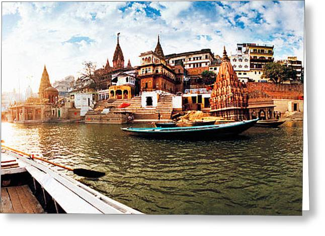 Holy Vessels Greeting Cards - Boats In The Ganges River, Varanasi Greeting Card by Panoramic Images