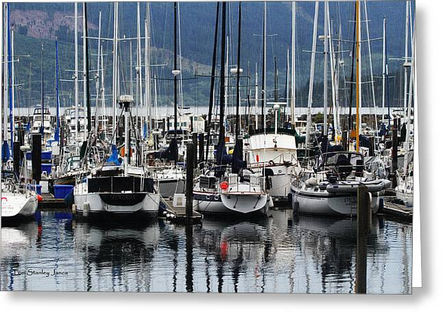 Boats In Harbor Digital Art Greeting Cards - Boats In The Harbor Puget Sound Washington Greeting Card by Tom Janca