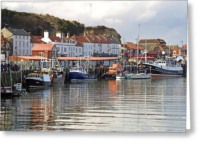 England Greeting Cards - Boats in the Lower Harbour - Whitby Greeting Card by Rod Johnson