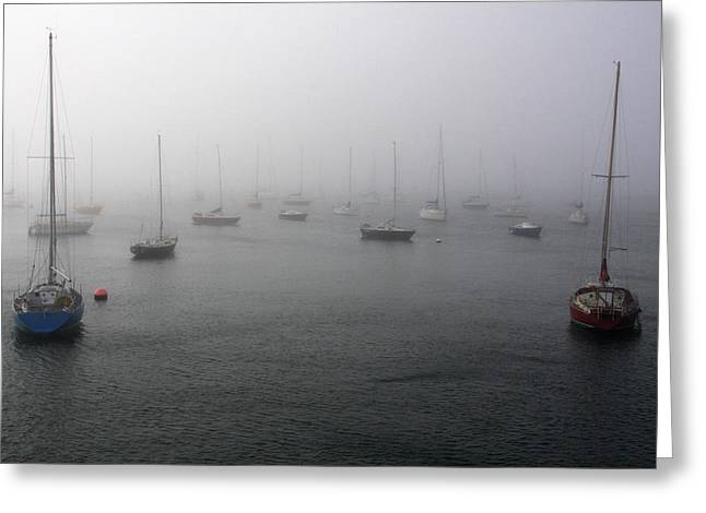 Aidan Moran Photography Greeting Cards - Boats In The Mist Greeting Card by Aidan Moran