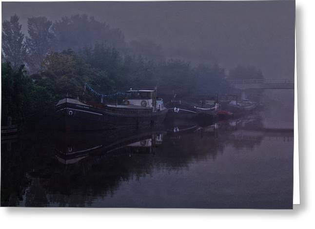 Coldly Greeting Cards - Boats in the morning mist  Greeting Card by Guna  Andersone