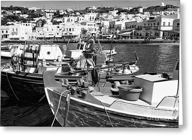 Buildings In The Harbor Photographs Greeting Cards - Boats in the Mykonos Harbor mon Greeting Card by John Rizzuto