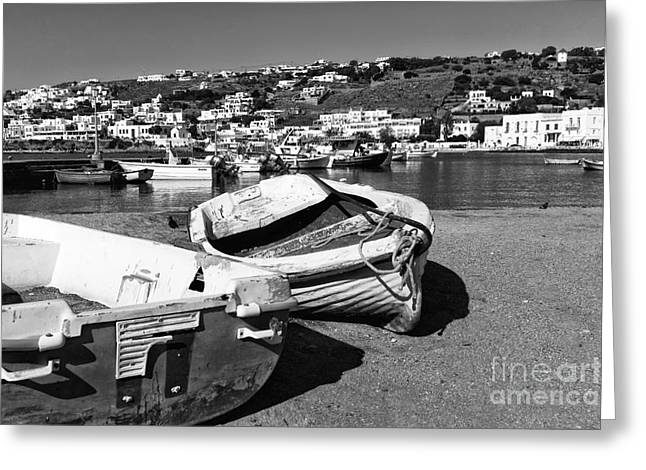 Boats In Harbor Greeting Cards - Boats in the Mykonos Old Port mono Greeting Card by John Rizzuto
