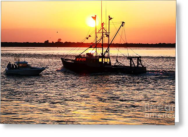 Boats in the Night Greeting Card by John Rizzuto