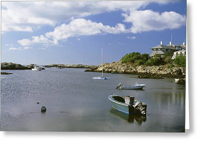 New England Ocean Greeting Cards - Boats In The Ocean, Ocean Drive Greeting Card by Panoramic Images
