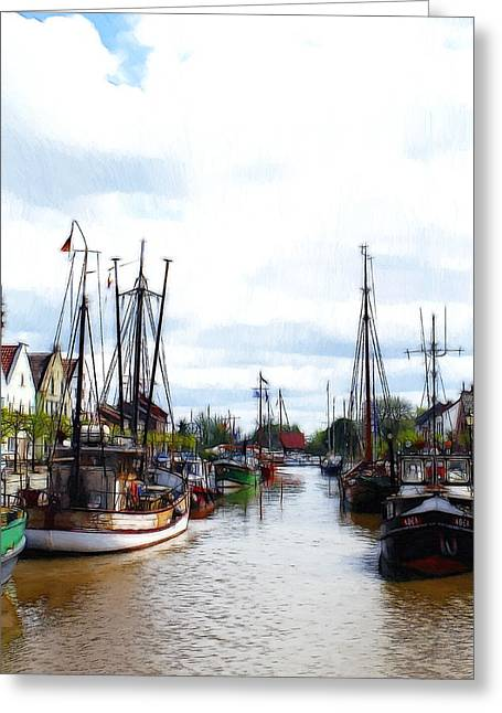 Boats In The Old Harbor Greeting Card by Steve K