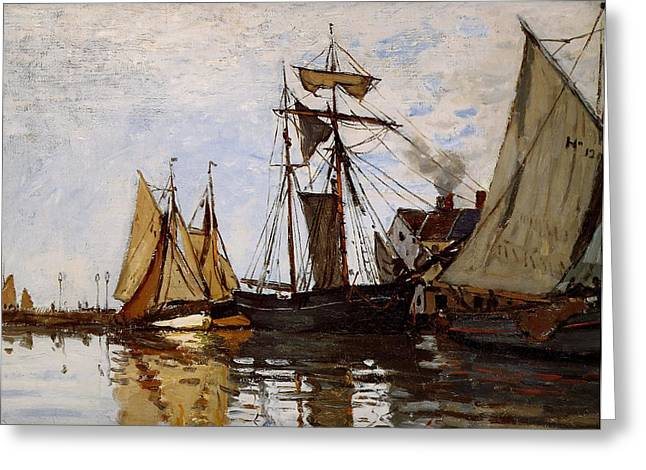 Wind In The Sails Greeting Cards - Boats in the Port of Honfleur Greeting Card by L Brown