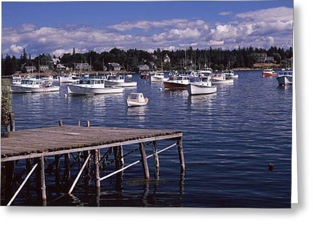Bass Harbor Greeting Cards - Boats In The Sea, Bass Harbor, Hancock Greeting Card by Panoramic Images