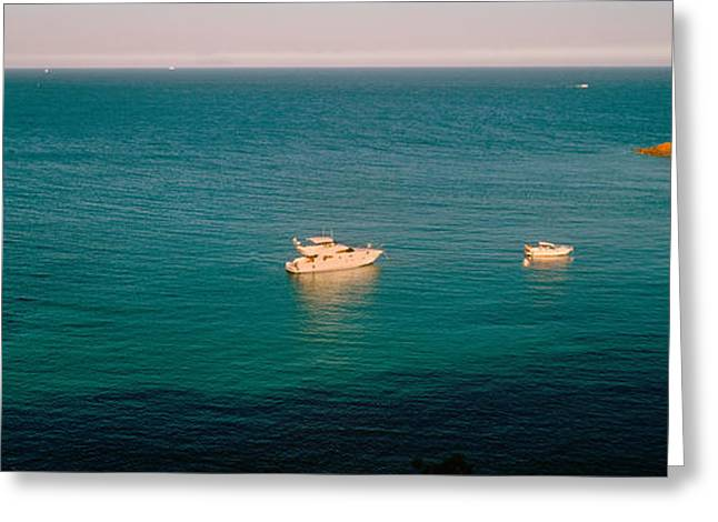 Massif Greeting Cards - Boats In The Sea, Esterel Massif Greeting Card by Panoramic Images