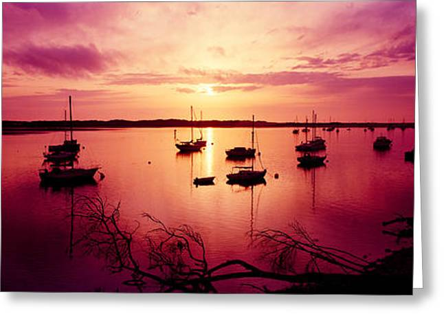 San Luis Obispo Greeting Cards - Boats In The Sea, Morro Bay, San Luis Greeting Card by Panoramic Images