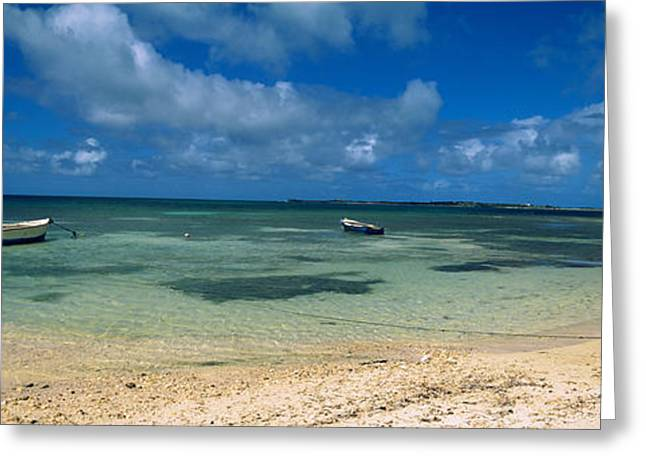 Water Vessels Greeting Cards - Boats In The Sea, North Coast Greeting Card by Panoramic Images