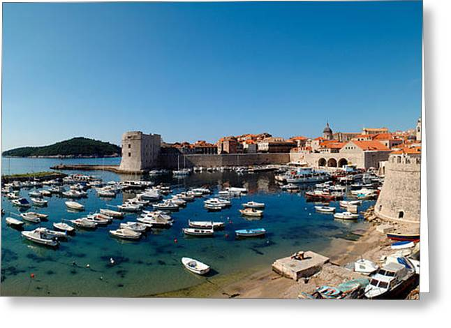 Water Vessels Greeting Cards - Boats In The Sea, Old City, Dubrovnik Greeting Card by Panoramic Images
