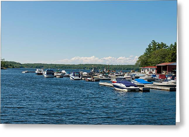 Boats In The Sea, Rose Point Marina Greeting Card by Panoramic Images