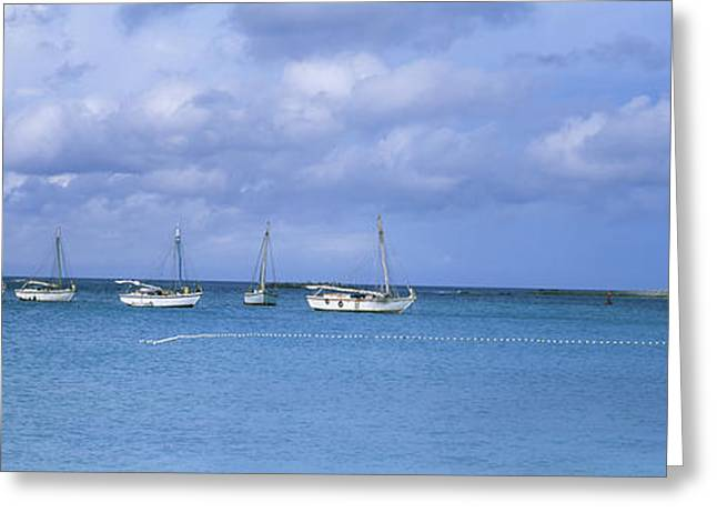 Sailboats In Water Greeting Cards - Boats In The Sea With A Lighthouse Greeting Card by Panoramic Images