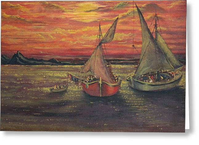 Seascape With A Boat Greeting Cards - Boats in the sea Greeting Card by Yatendra Amar