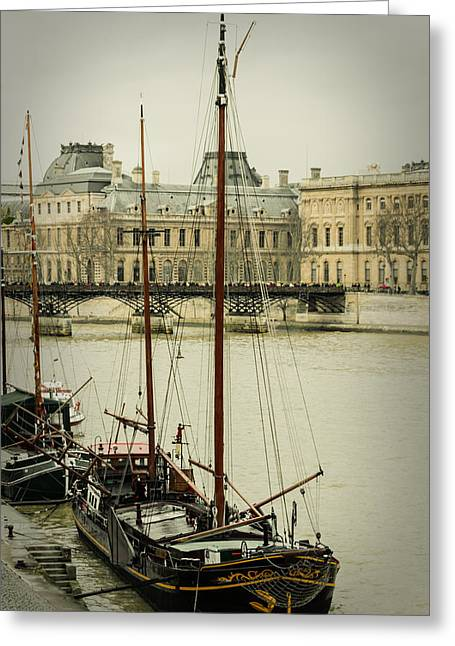 Historic Ship Greeting Cards - Boats In The Seine River Greeting Card by Marco Oliveira