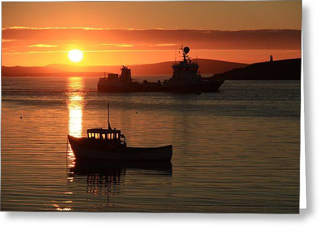 Reflection Of Sun In Clouds Greeting Cards - Boats In The Sunset Trondra Shetland Greeting Card by Anne Macdonald