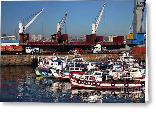 Boats In Harbor Greeting Cards - Boats in Valparaiso Greeting Card by John Rizzuto