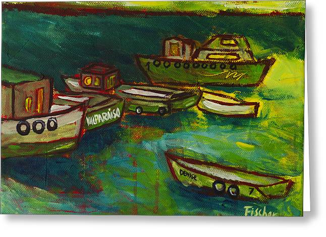 Fischer Boat Greeting Cards - Boats in Valparaiso Greeting Card by Rafael Fischer