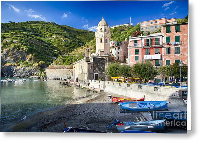 Union Terrace Greeting Cards - Boats in Vernazza Harbor Greeting Card by George Oze