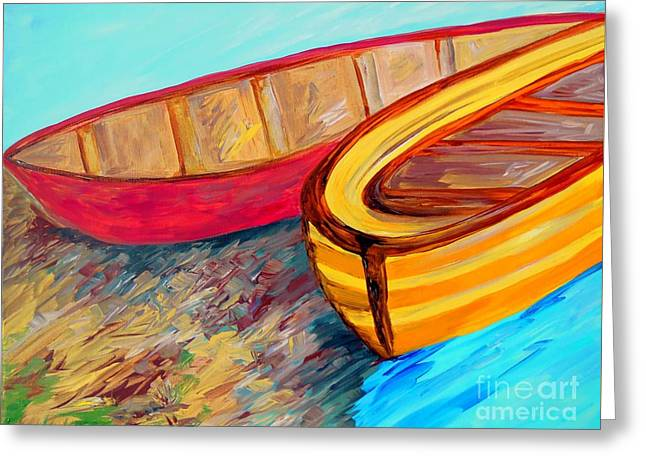 Boats In Water Greeting Cards - Boats in Waiting Greeting Card by Eloise Schneider