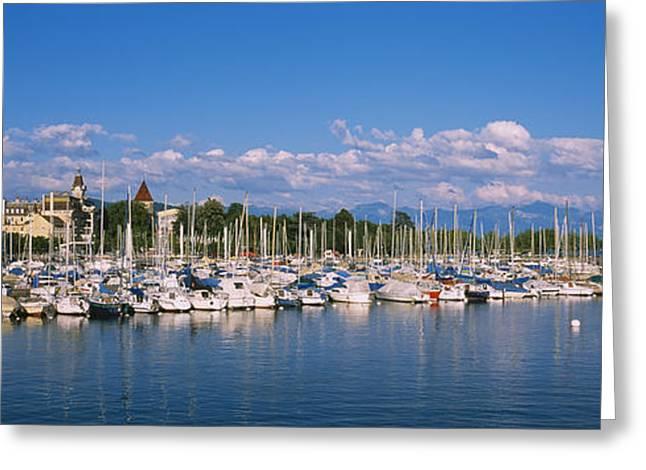 Lake Geneva Greeting Cards - Boats Moored At A Harbor, Lake Geneva Greeting Card by Panoramic Images