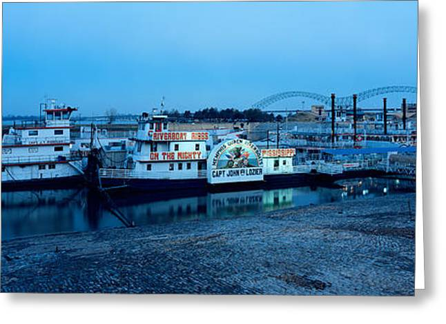 Mississippi River Scene Greeting Cards - Boats Moored At A Harbor, Memphis Greeting Card by Panoramic Images