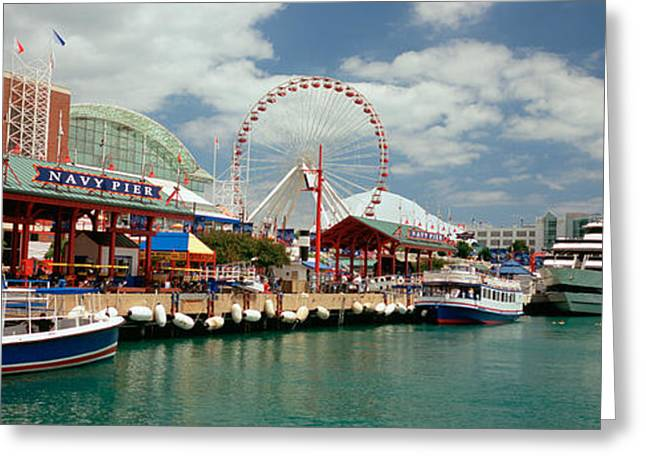 Flag Of Usa Greeting Cards - Boats Moored At A Harbor, Navy Pier Greeting Card by Panoramic Images