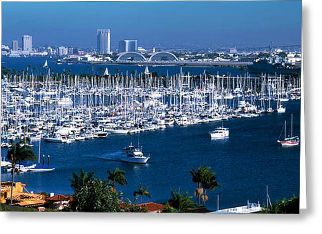 Sailboat Images Greeting Cards - Boats Moored At A Harbor, San Diego Greeting Card by Panoramic Images