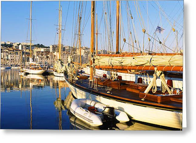 Masts Greeting Cards - Boats Moored At A Harbor, Vieux Port Greeting Card by Panoramic Images