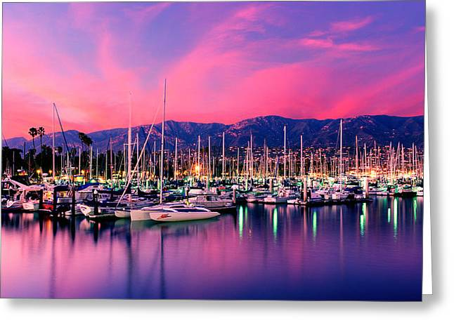 Ocean Images Greeting Cards - Boats Moored In Harbor At Sunset, Santa Greeting Card by Panoramic Images