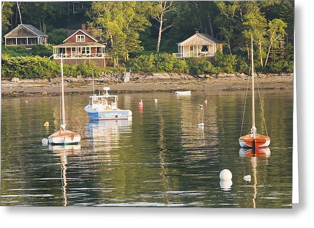 Maine Landscape Greeting Cards - Boats Moored in Tenants Harbor Maine Greeting Card by Keith Webber Jr