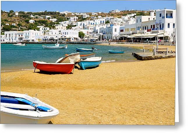 Boats Of Mykonos Greeting Card by Corinne Rhode