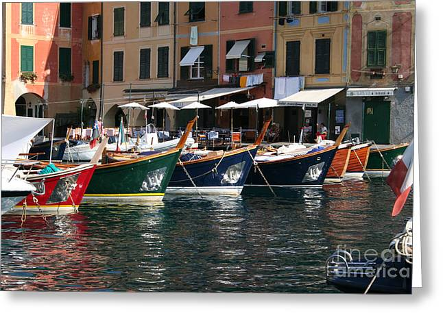 Portofino Italy Art Greeting Cards - Boats of Portofino Greeting Card by Stephen McCabe