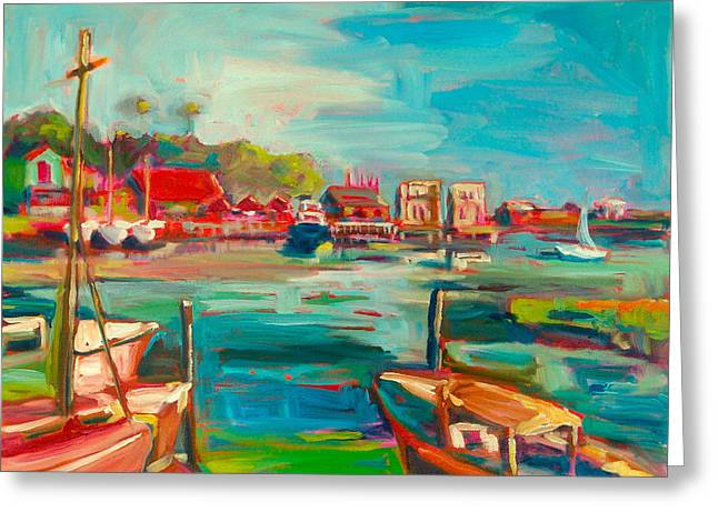 Safe Haven Greeting Cards - Boats of Southport Greeting Card by Sue Scoggins